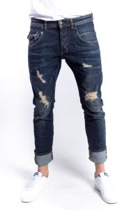 Amsterdenim ripped tapered slim fit jeans JOHAN brood wash - made in Italy