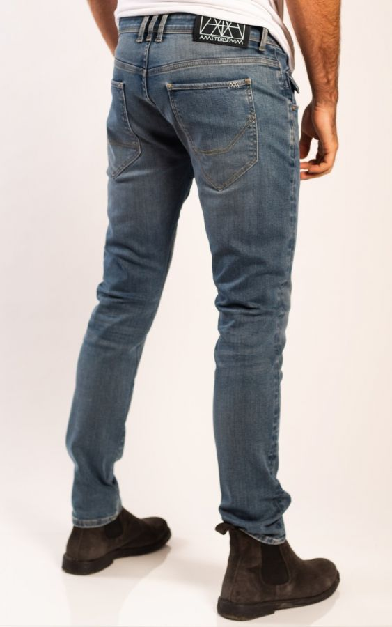 Amsterdenim - Jeans - JOHAN - Tapered slim fit - Staal Blauw
