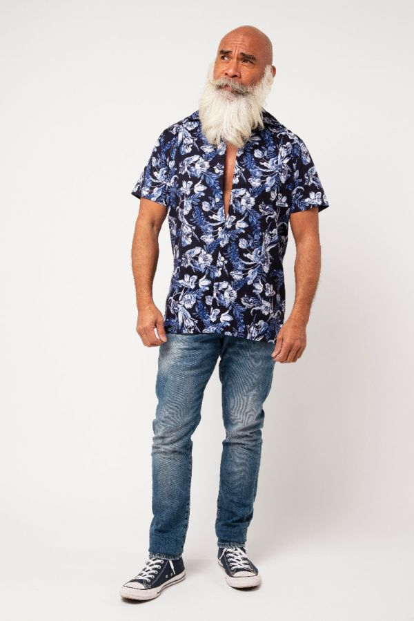 Amsterdenim – Hawaii Shirt – CAROLUS – Blue on Blue
