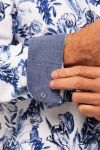 Amsterdenim – Shirt – CAROLUS L/S – Delft Blue tulpis from Amsterdam with a hint of Indogofera