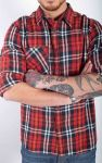 Amsterdenim checkered shirt red white and black Amsterdam colors lumberjack shirt with gold stripe