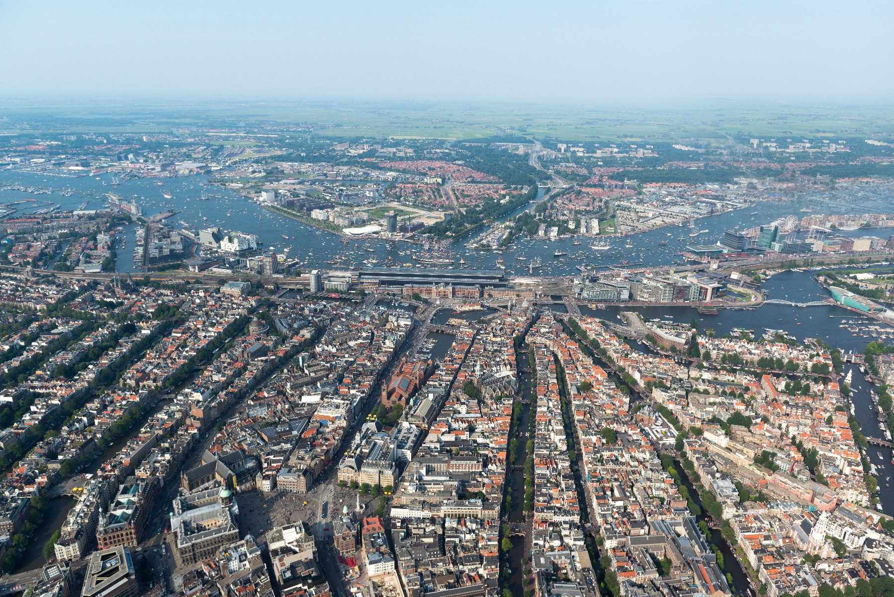Amsterdam from above during SAIL Amsterdam 2015