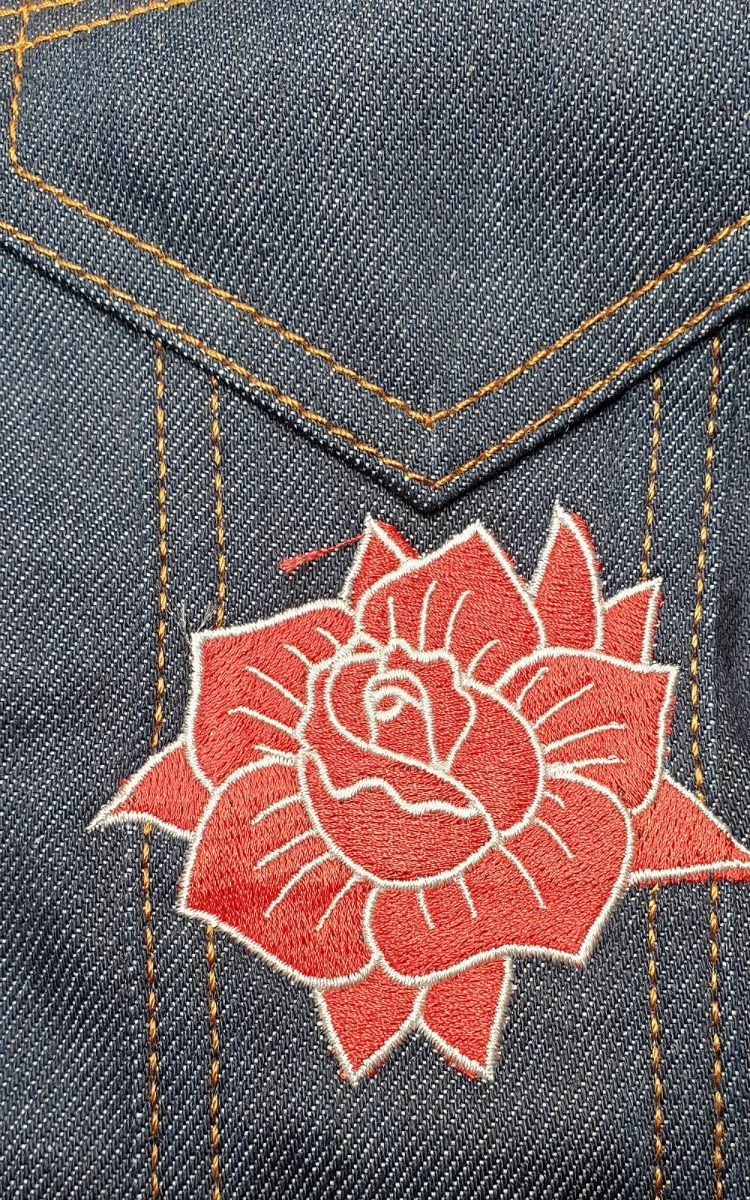 Douwe Bob Tattoo art embroidery on denim